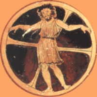 Ixion shown crucified on a wheel, the solar disc complete with cross as in Christian iconography. Bowl painting