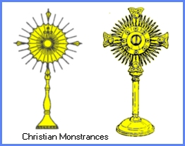 Christian Monstrances which house the 'body of Christ' for the communion service show a radiant sun