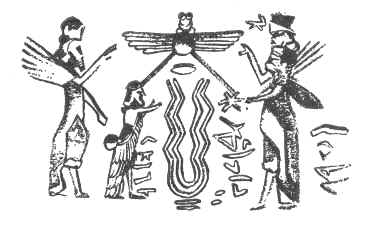 Worshipping a Serpent instead of a Tree. Or is it Ea, the Water of Life? Ea (Yah) was represented by a serpent.